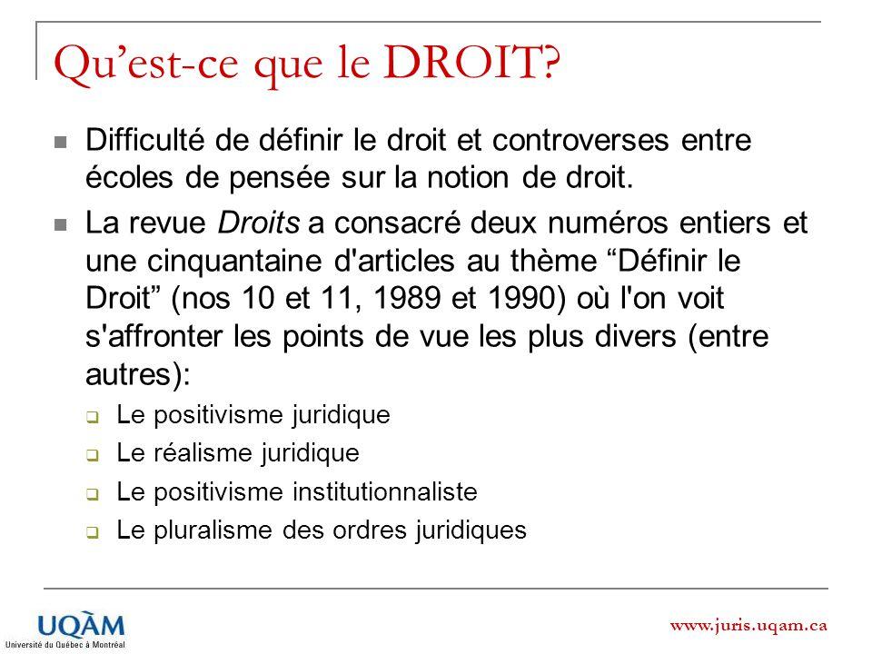 www.juris.uqam.ca Quest-ce que le DROIT? Difficulté de définir le droit et controverses entre écoles de pensée sur la notion de droit. La revue Droits