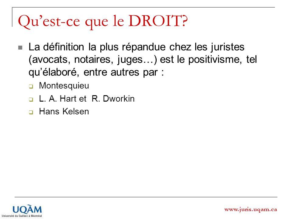 www.juris.uqam.ca Quest-ce que le DROIT? La définition la plus répandue chez les juristes (avocats, notaires, juges…) est le positivisme, tel quélabor