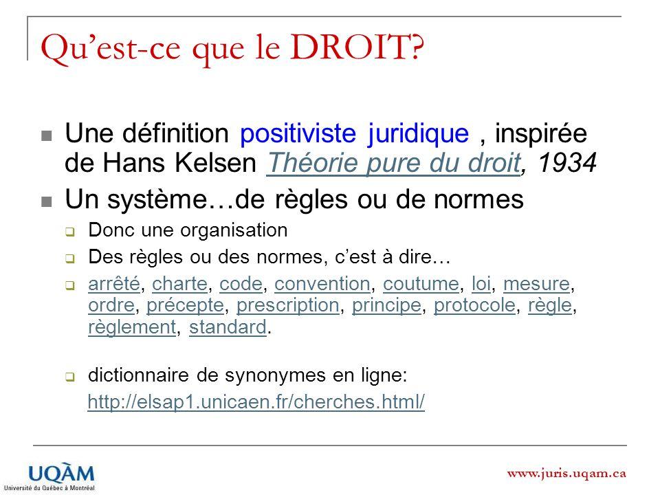 www.juris.uqam.ca Quest-ce que le DROIT? Une définition positiviste juridique, inspirée de Hans Kelsen Théorie pure du droit, 1934Théorie pure du droi