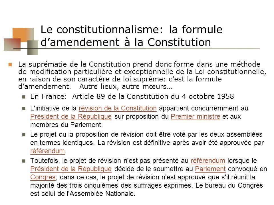 Le constitutionnalisme: la formule damendement à la Constitution La suprématie de la Constitution prend donc forme dans une méthode de modification pa