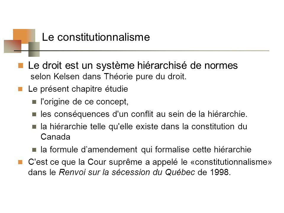 Le constitutionnalisme Le droit est un système hiérarchisé de normes selon Kelsen dans Théorie pure du droit. Le présent chapitre étudie l'origine de