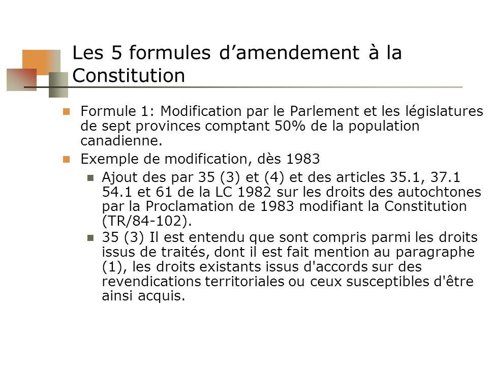 Les 5 formules damendement à la Constitution Formule 1: Modification par le Parlement et les législatures de sept provinces comptant 50% de la populat