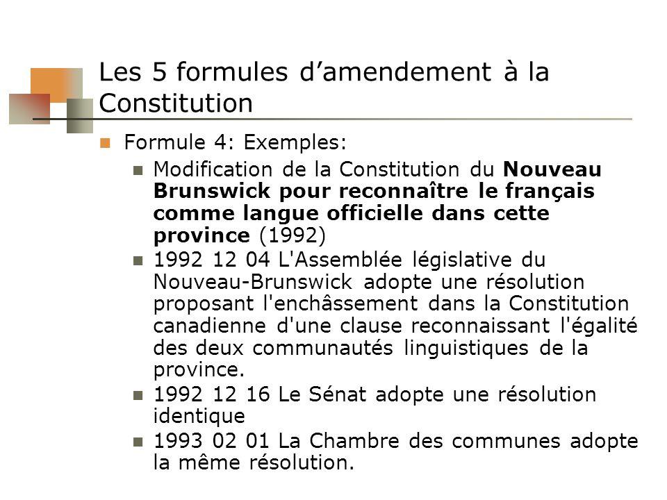 Les 5 formules damendement à la Constitution Formule 4: Exemples: Modification de la Constitution du Nouveau Brunswick pour reconnaître le français co
