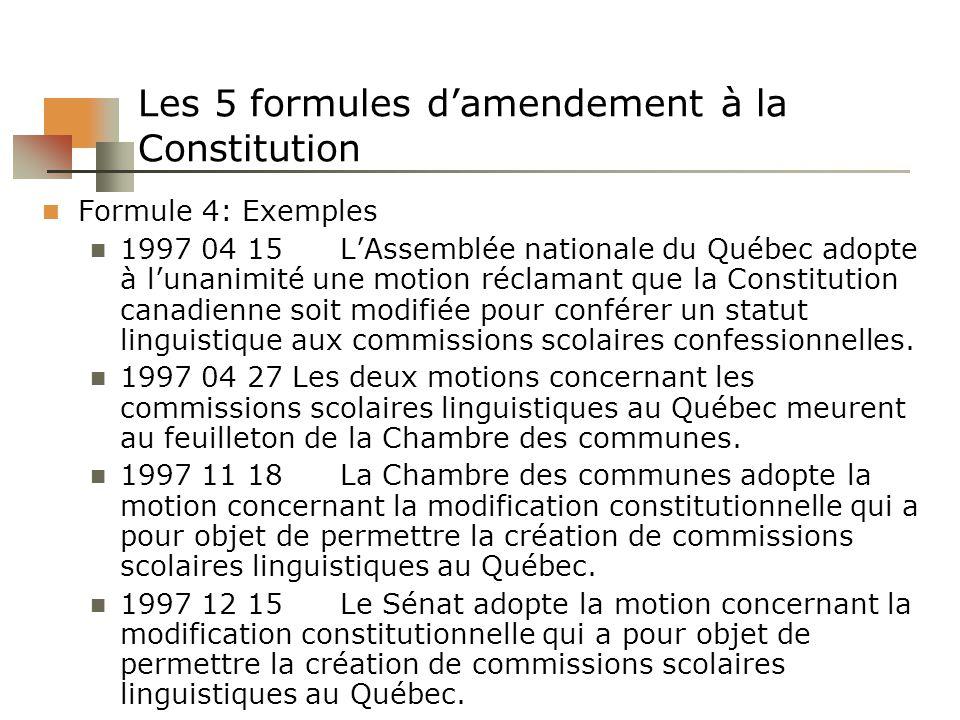 Les 5 formules damendement à la Constitution Formule 4: Exemples 1997 04 15 LAssemblée nationale du Québec adopte à lunanimité une motion réclamant qu