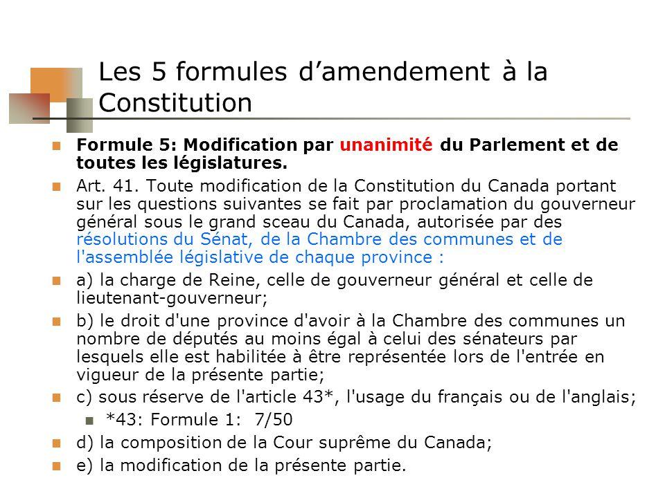 Les 5 formules damendement à la Constitution Formule 5: Modification par unanimité du Parlement et de toutes les législatures. Art. 41. Toute modifica