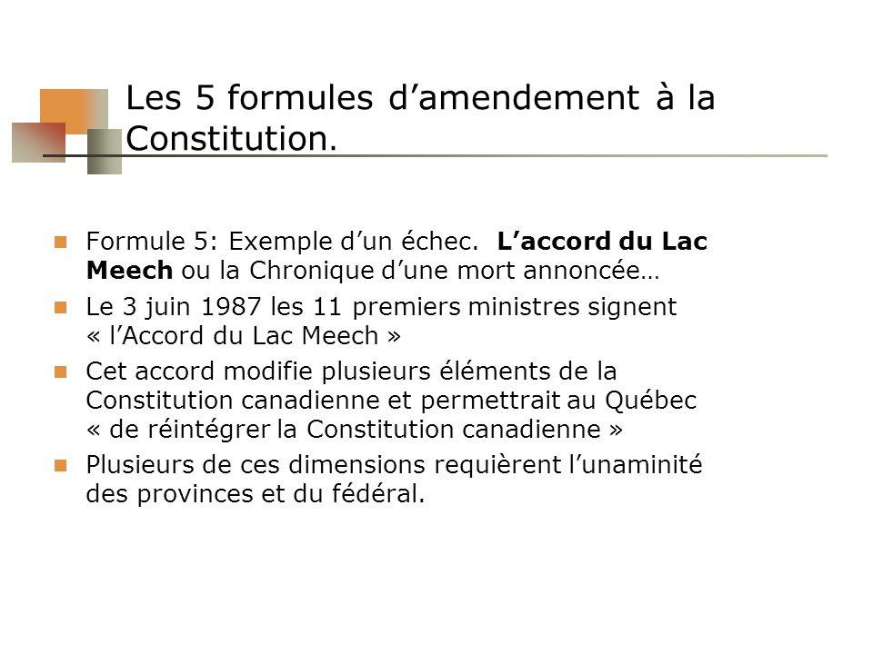 Les 5 formules damendement à la Constitution. Formule 5: Exemple dun échec. Laccord du Lac Meech ou la Chronique dune mort annoncée… Le 3 juin 1987 le