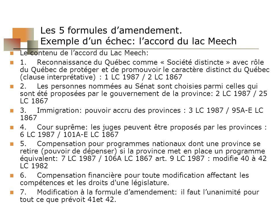 Les 5 formules damendement. Exemple dun échec: laccord du lac Meech Le contenu de laccord du Lac Meech: 1.Reconnaissance du Québec comme « Société dis