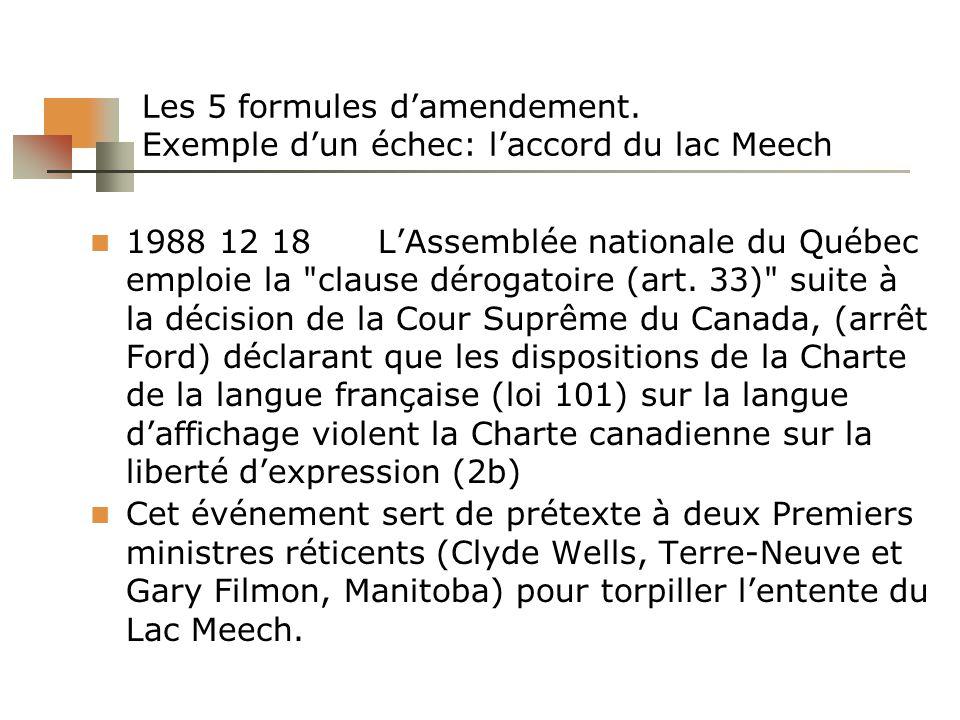 Les 5 formules damendement. Exemple dun échec: laccord du lac Meech 1988 12 18LAssemblée nationale du Québec emploie la