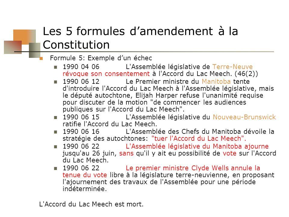 Les 5 formules damendement à la Constitution Formule 5: Exemple dun échec 1990 04 06L'Assemblée législative de Terre-Neuve révoque son consentement à