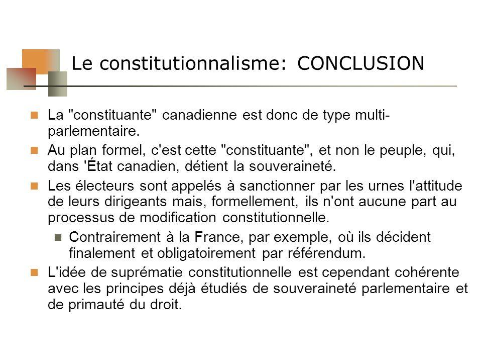 Le constitutionnalisme: CONCLUSION La