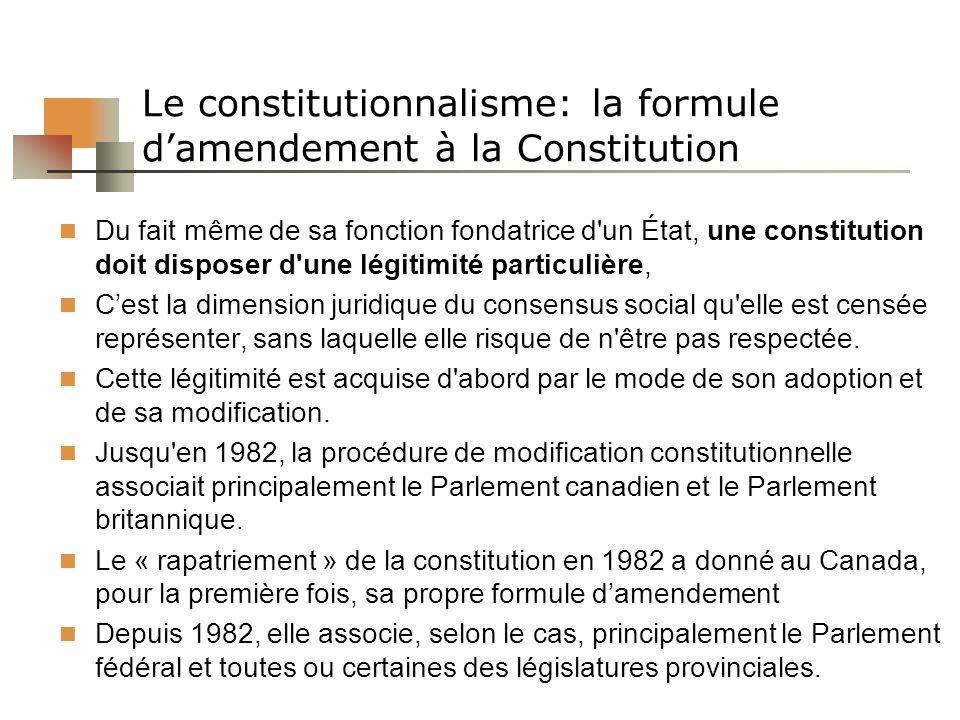 Le constitutionnalisme: la formule damendement à la Constitution Du fait même de sa fonction fondatrice d un État, une constitution doit disposer d une légitimité particulière, Cest la dimension juridique du consensus social qu elle est censée représenter, sans laquelle elle risque de n être pas respectée.