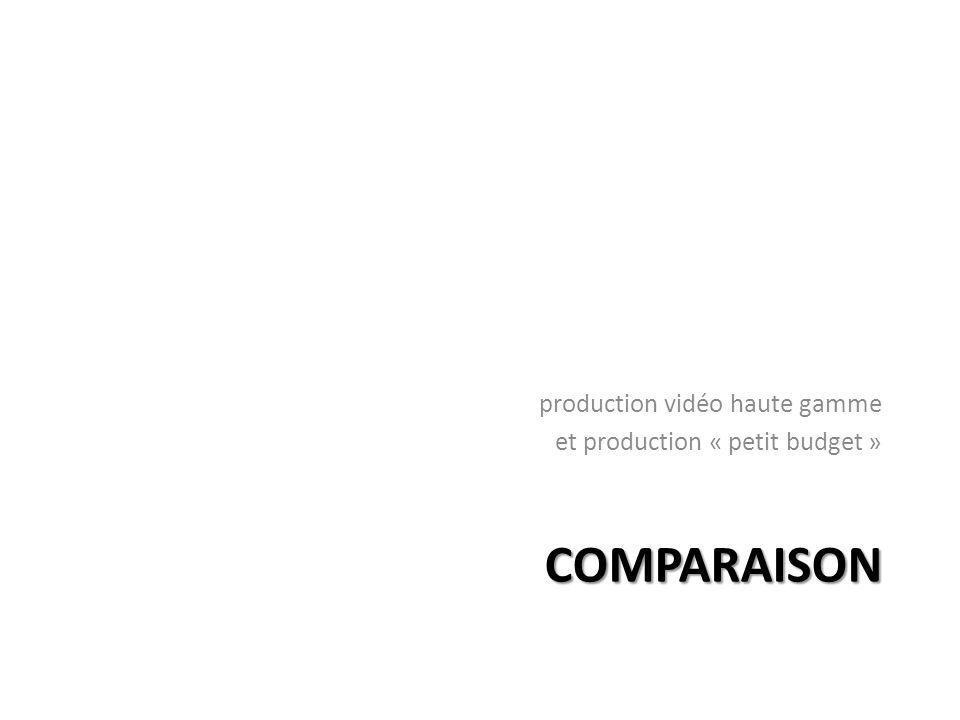 COMPARAISON production vidéo haute gamme et production « petit budget »