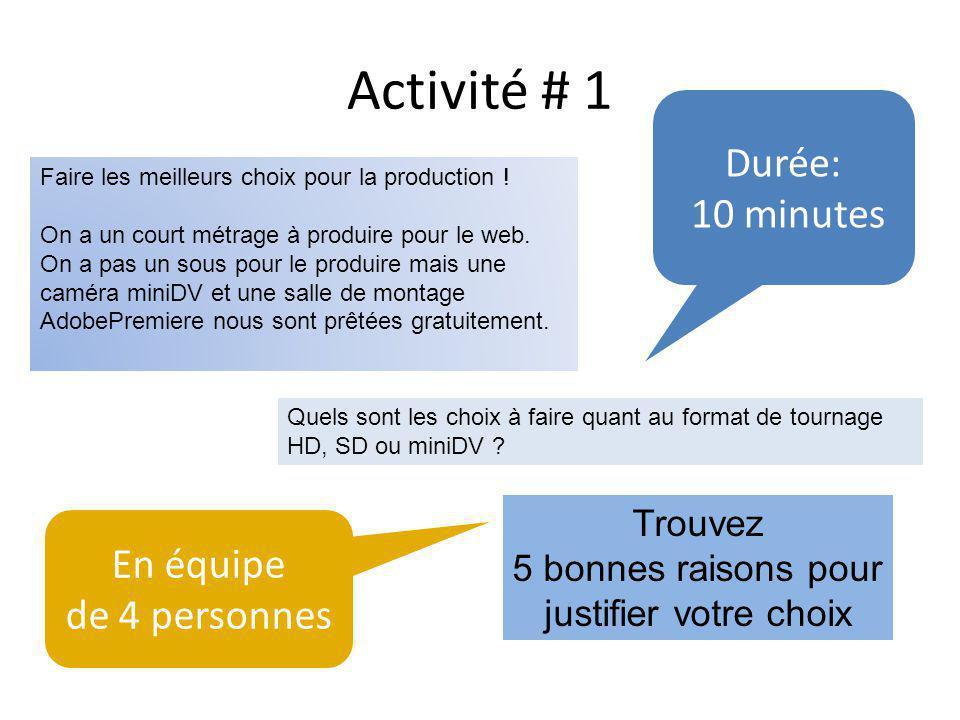 Activité # 1 Durée: 10 minutes Faire les meilleurs choix pour la production .