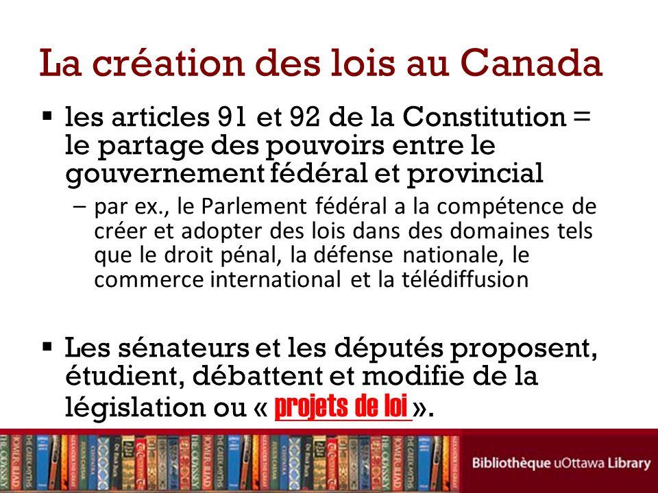 La création des lois au Canada les articles 91 et 92 de la Constitution = le partage des pouvoirs entre le gouvernement fédéral et provincial –par ex.