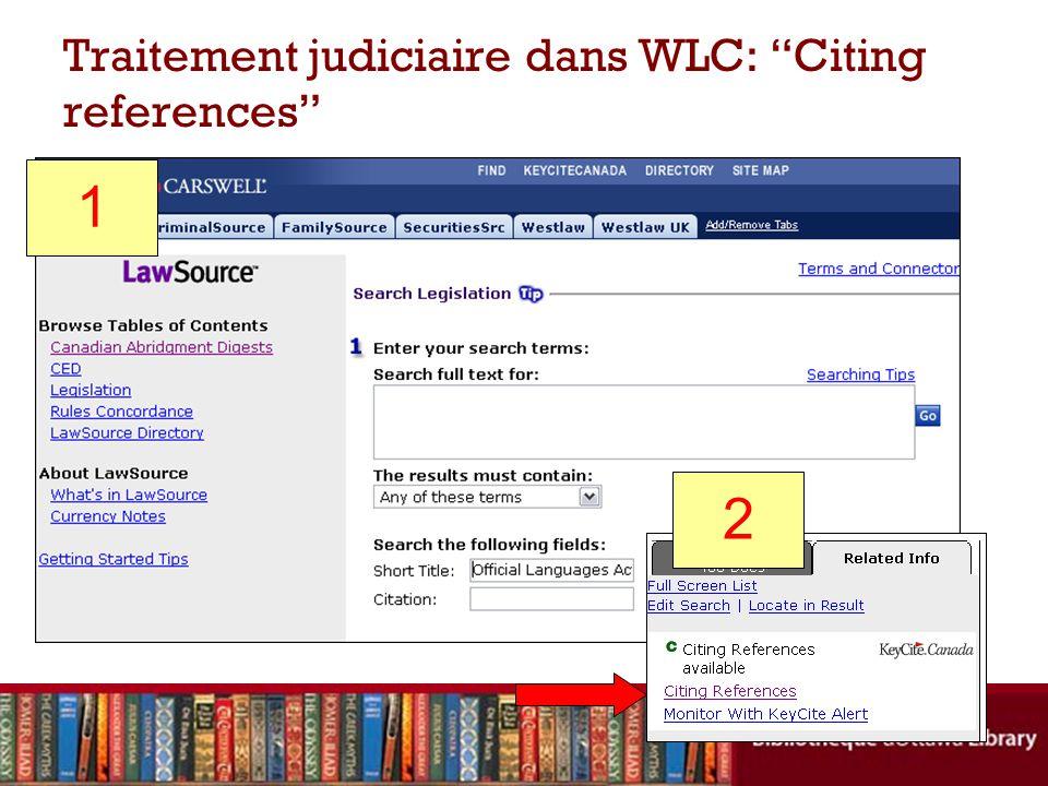 Traitement judiciaire dans WLC: Citing references 1 2