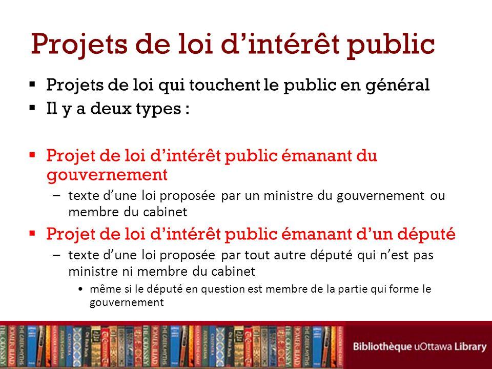 Projets de loi dintérêt public Projets de loi qui touchent le public en général Il y a deux types : Projet de loi dintérêt public émanant du gouvernem