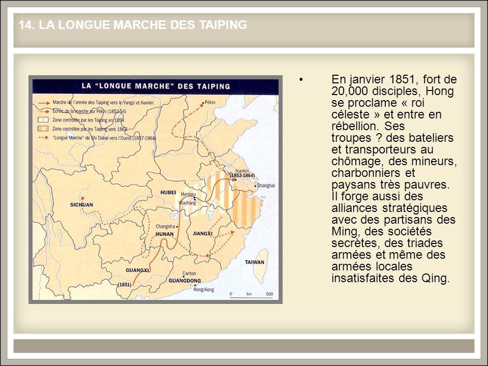 En janvier 1851, fort de 20,000 disciples, Hong se proclame « roi céleste » et entre en rébellion. Ses troupes ? des bateliers et transporteurs au chô