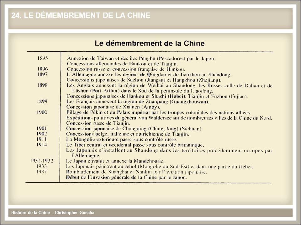 24. LE DÉMEMBREMENT DE LA CHINE Histoire de la Chine – Christopher Goscha