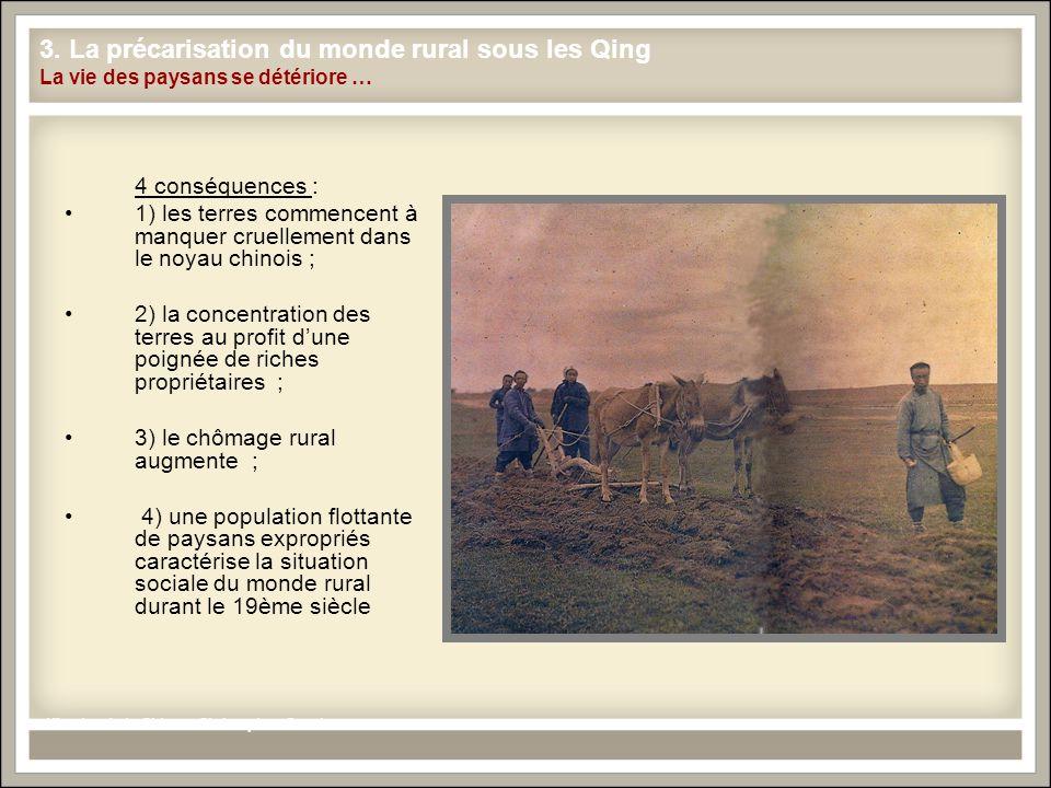 3. La précarisation du monde rural sous les Qing La vie des paysans se détériore … 4 conséquences : 1) les terres commencent à manquer cruellement dan