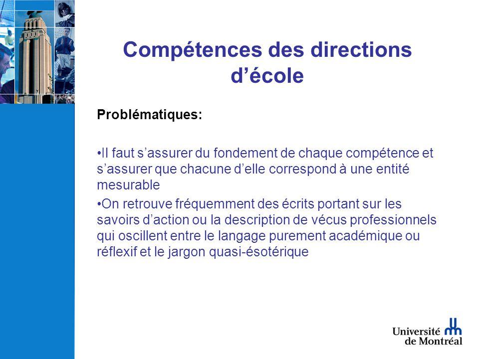 Compétences des directions décole Problématiques: Il faut sassurer du fondement de chaque compétence et sassurer que chacune delle correspond à une en