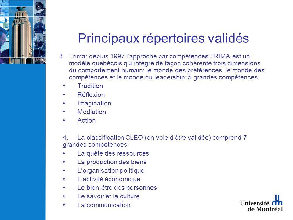 Principaux répertoires validés 3.Trima: depuis 1997 lapproche par compétences TRIMA est un modèle québécois qui intègre de façon cohérente trois dimen