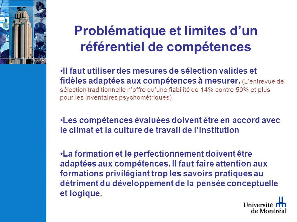 Problématique et limites dun référentiel de compétences Il faut utiliser des mesures de sélection valides et fidèles adaptées aux compétences à mesure