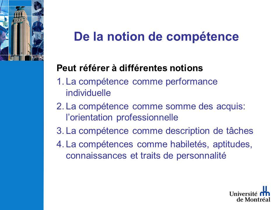 De la notion de compétence Peut référer à différentes notions 1.La compétence comme performance individuelle 2.La compétence comme somme des acquis: l