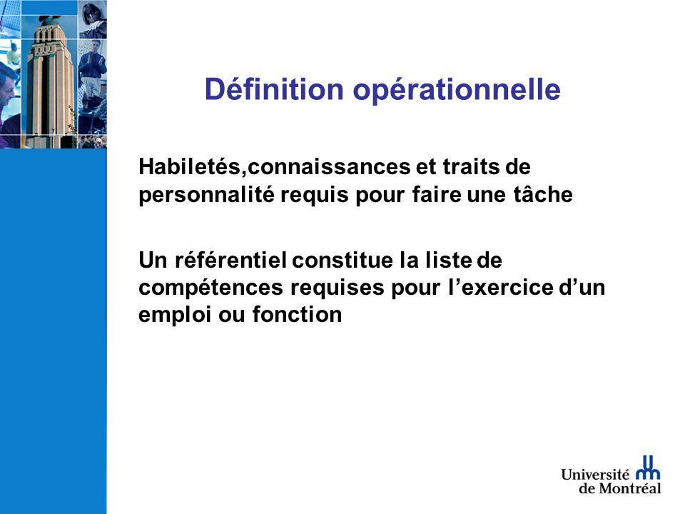 Définition opérationnelle Habiletés,connaissances et traits de personnalité requis pour faire une tâche Un référentiel constitue la liste de compétenc