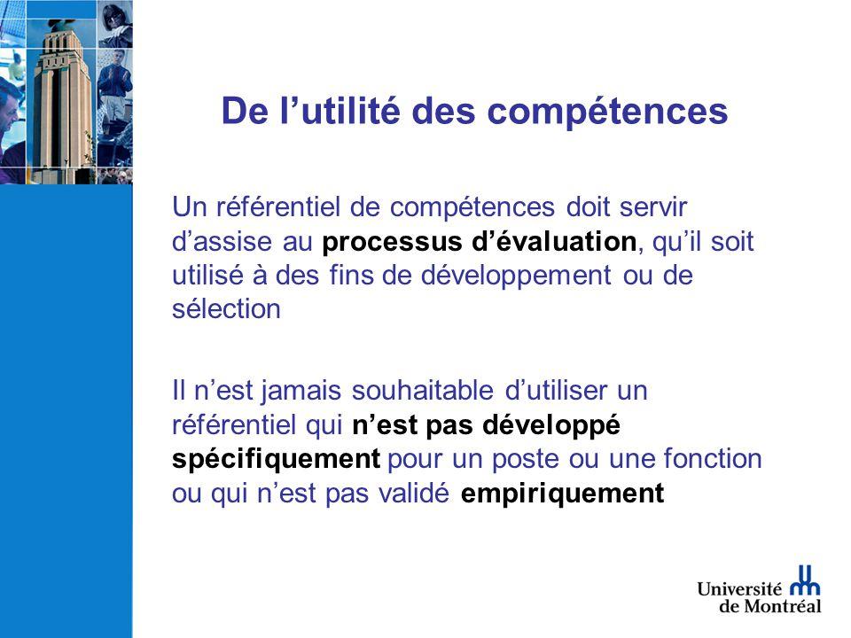 De lutilité des compétences Un référentiel de compétences doit servir dassise au processus dévaluation, quil soit utilisé à des fins de développement