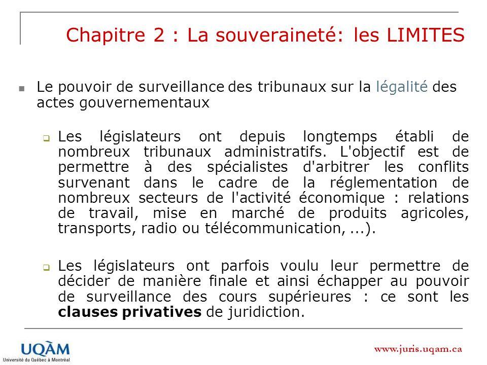 www.juris.uqam.ca Chapitre 2 : La souveraineté: les LIMITES Le pouvoir de surveillance des tribunaux sur la légalité des actes gouvernementaux Les lég