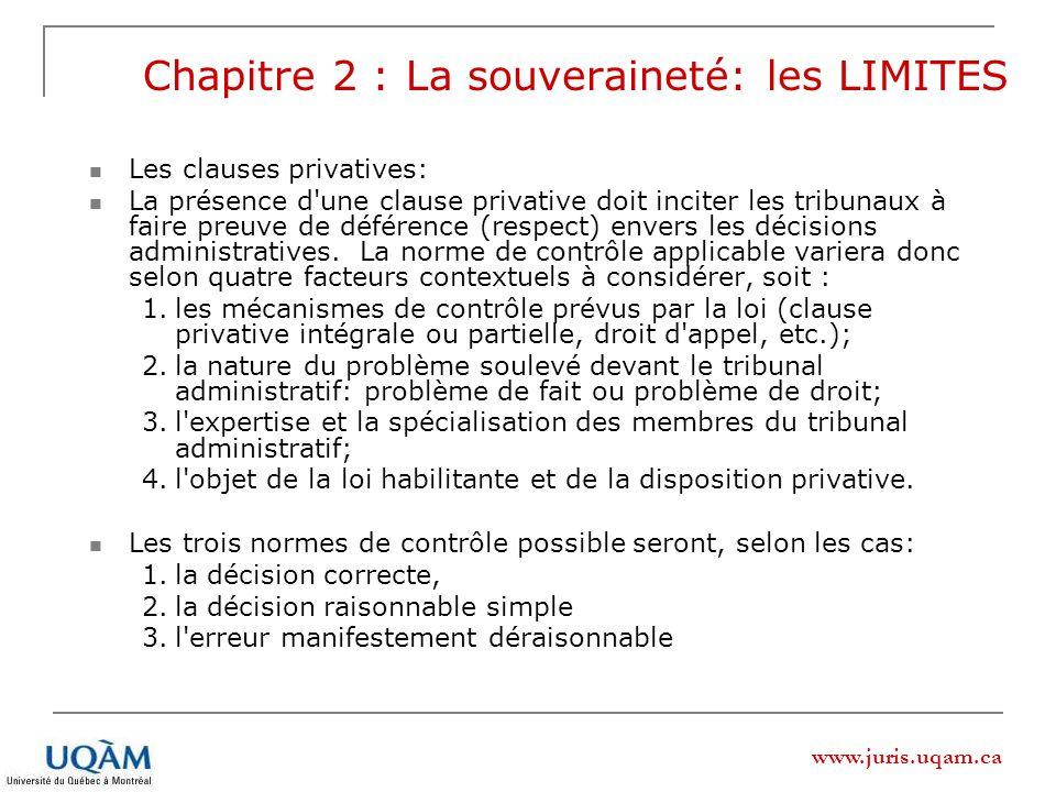 www.juris.uqam.ca Chapitre 2 : La souveraineté: les LIMITES Les clauses privatives: La présence d'une clause privative doit inciter les tribunaux à fa