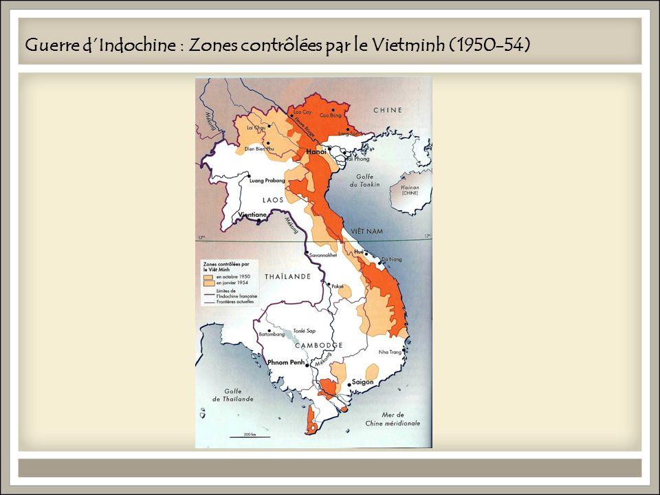 Guerre dIndochine : Zones contrôlées par le Vietminh (1950-54)