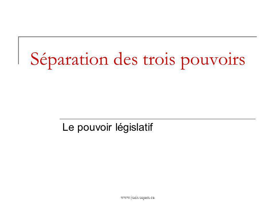 Séparation des trois pouvoirs Le pouvoir législatif www.juris.uqam.ca