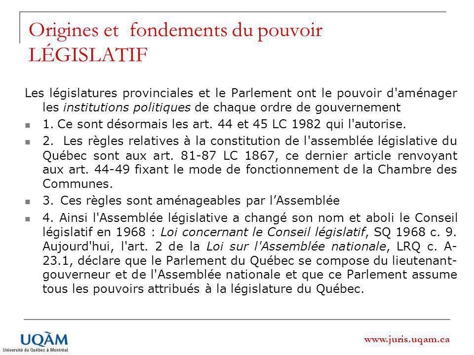 www.juris.uqam.ca Origines et fondements du pouvoir LÉGISLATIF Les législatures provinciales et le Parlement ont le pouvoir d aménager les institutions politiques de chaque ordre de gouvernement 1.