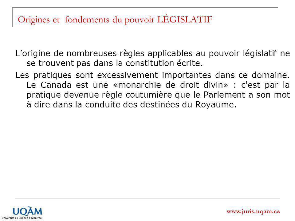 www.juris.uqam.ca Origines et fondements du pouvoir LÉGISLATIF Lorigine de nombreuses règles applicables au pouvoir législatif ne se trouvent pas dans la constitution écrite.
