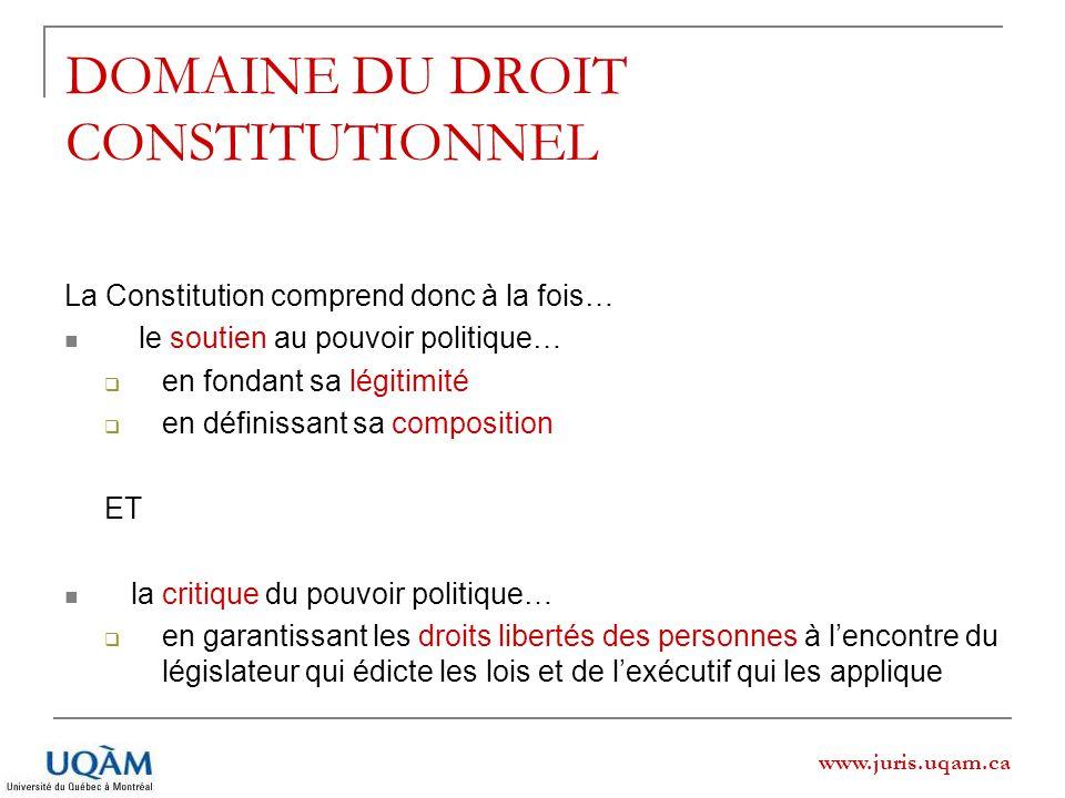 www.juris.uqam.ca DOMAINE DU DROIT CONSTITUTIONNEL La Constitution comprend donc à la fois… le soutien au pouvoir politique… en fondant sa légitimité