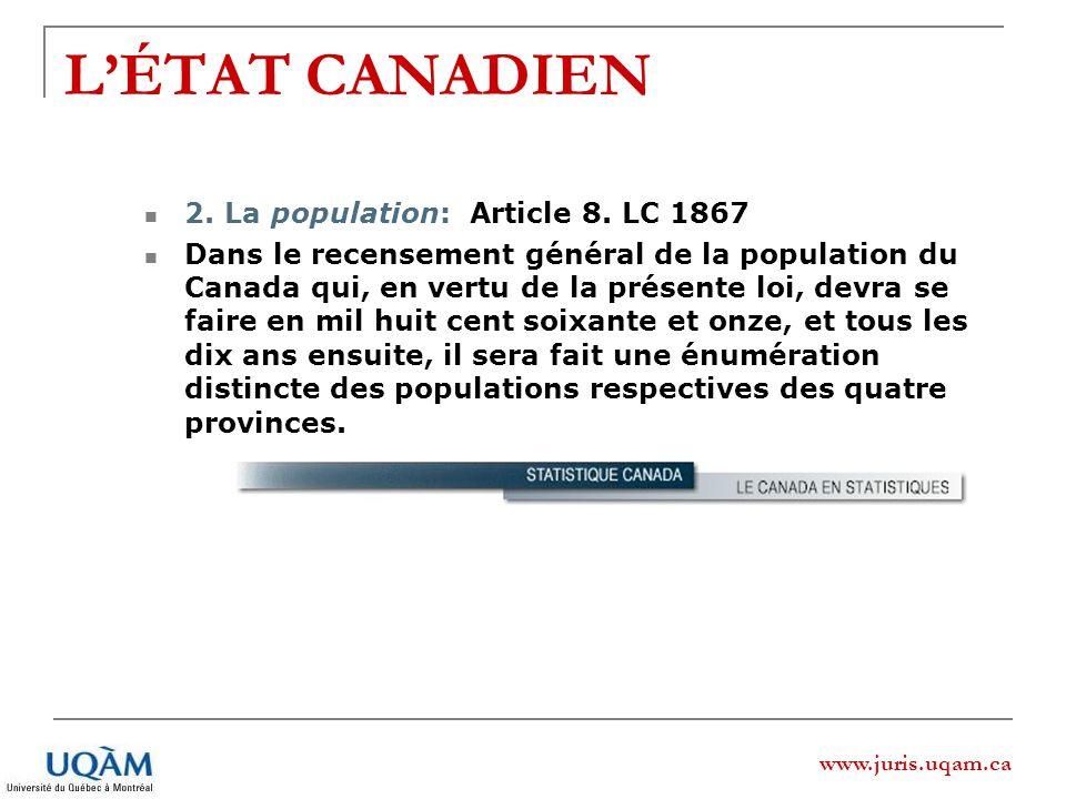 www.juris.uqam.ca LÉTAT CANADIEN 2. La population: Article 8. LC 1867 Dans le recensement général de la population du Canada qui, en vertu de la prése