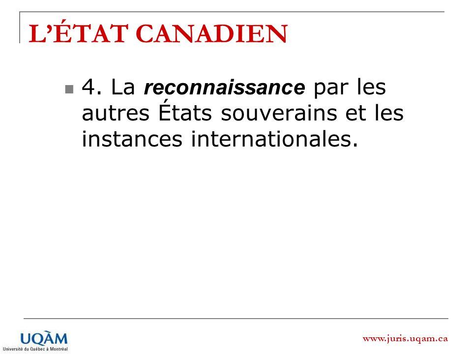 www.juris.uqam.ca LÉTAT CANADIEN 4. La reconnaissance par les autres États souverains et les instances internationales.