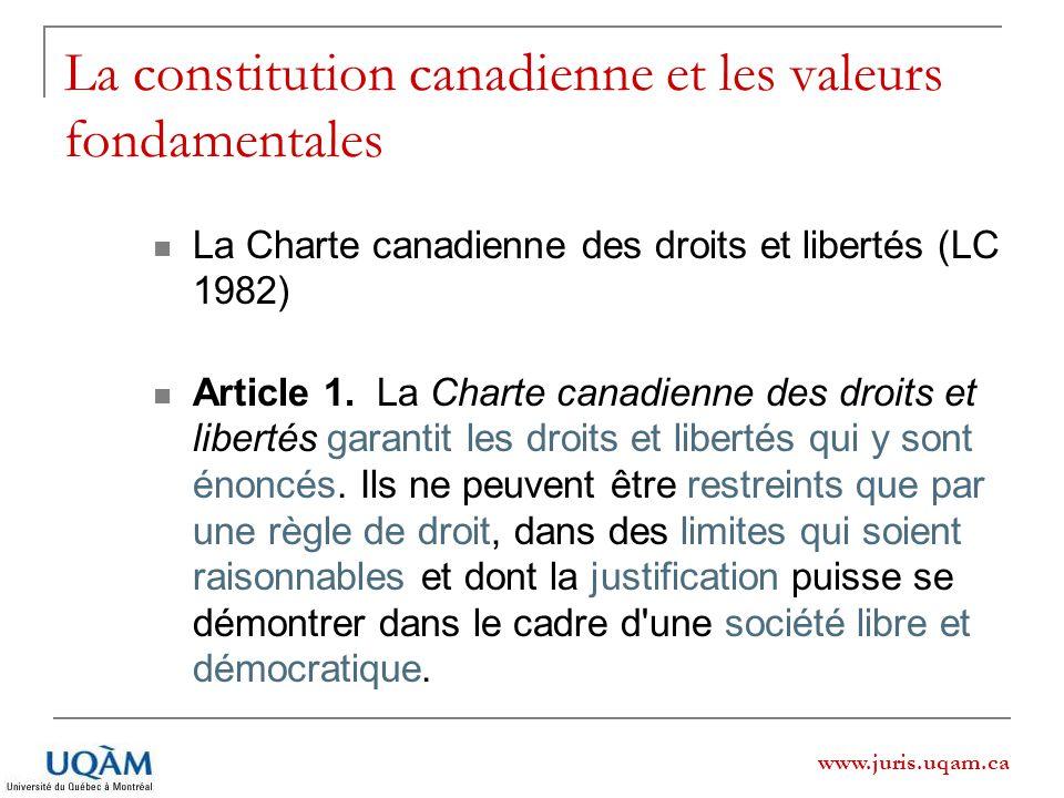 www.juris.uqam.ca La constitution canadienne et les valeurs fondamentales La Charte canadienne des droits et libertés (LC 1982) Article 1. La Charte c