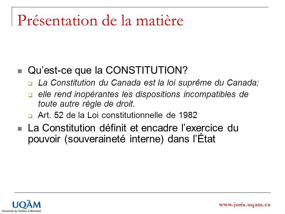 www.juris.uqam.ca Présentation de la matière Quest-ce que la CONSTITUTION? La Constitution du Canada est la loi suprême du Canada; elle rend inopérant