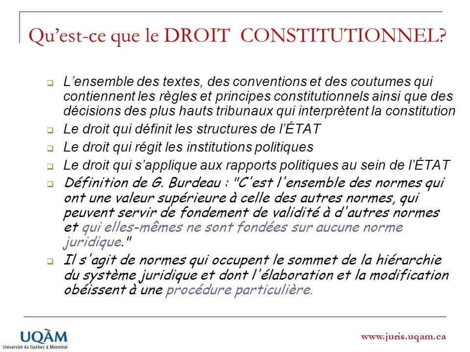 www.juris.uqam.ca Quest-ce que le DROIT CONSTITUTIONNEL? Lensemble des textes, des conventions et des coutumes qui contiennent les règles et principes