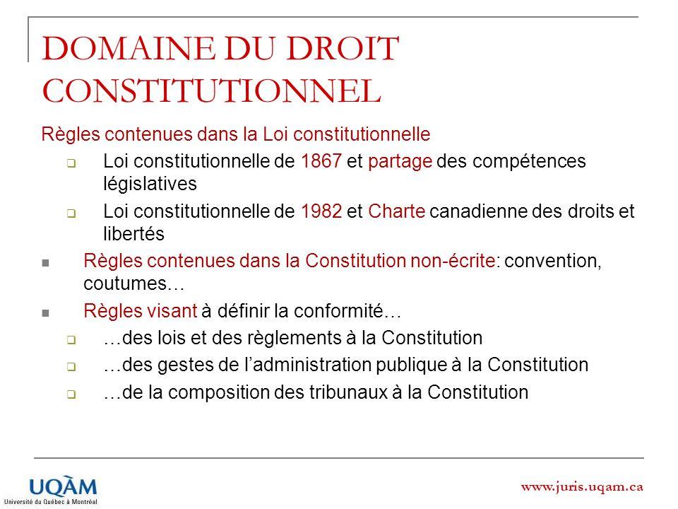 www.juris.uqam.ca DOMAINE DU DROIT CONSTITUTIONNEL Règles contenues dans la Loi constitutionnelle Loi constitutionnelle de 1867 et partage des compéte