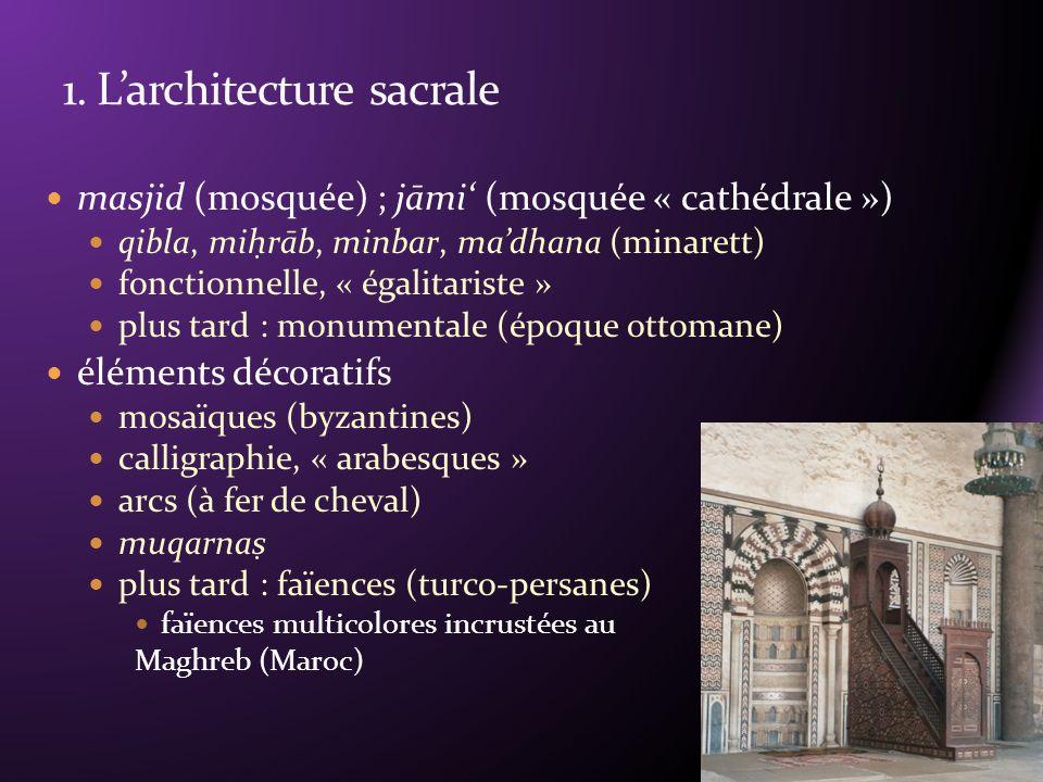 masjid (mosquée) ; jāmi (mosquée « cathédrale ») qibla, mih rāb, minbar, madhana (minarett) fonctionnelle, « égalitariste » plus tard : monumentale (époque ottomane) éléments décoratifs mosaïques (byzantines) calligraphie, « arabesques » arcs (à fer de cheval) muqarnas plus tard : faïences (turco-persanes) faïences multicolores incrustées au Maghreb (Maroc)