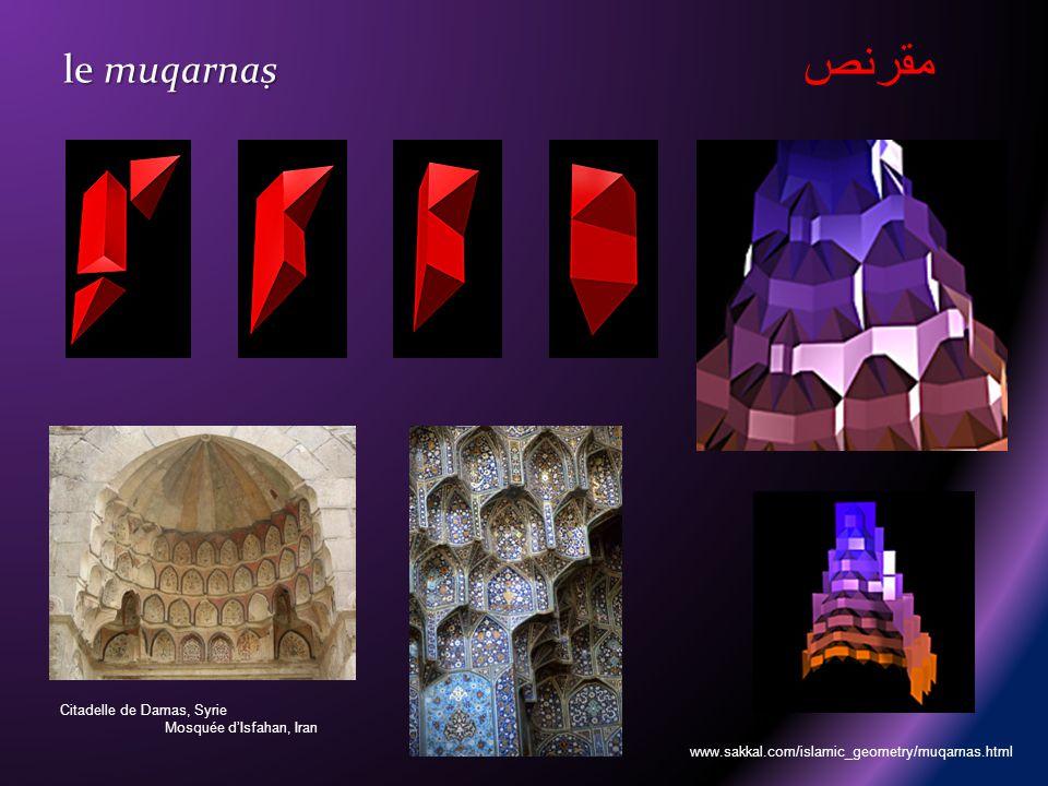 le muqarnas le muqarnas Citadelle de Damas, Syrie Mosquée dIsfahan, Iran www.sakkal.com/islamic_geometry/muqarnas.html مقرنص