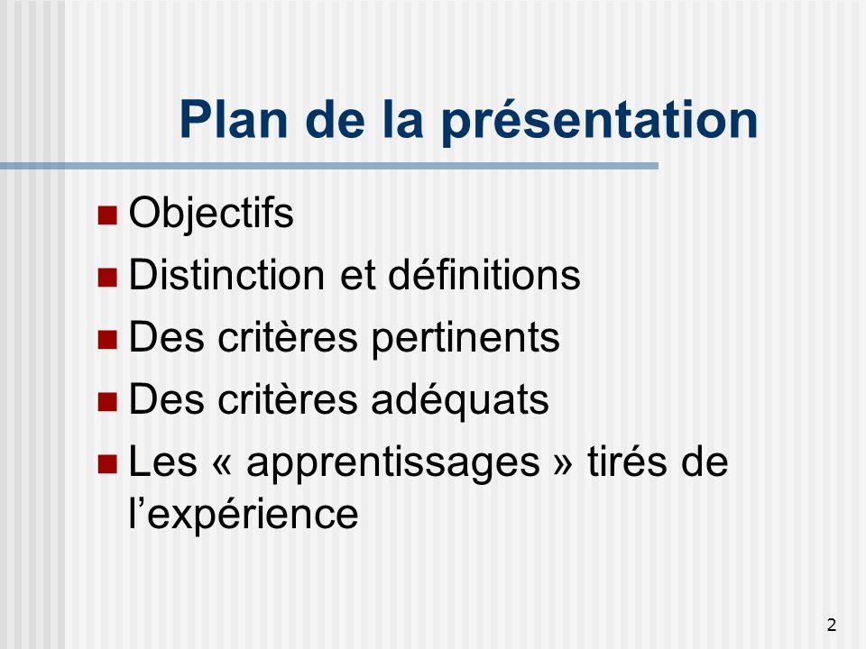 2 Plan de la présentation Objectifs Distinction et définitions Des critères pertinents Des critères adéquats Les « apprentissages » tirés de lexpérien