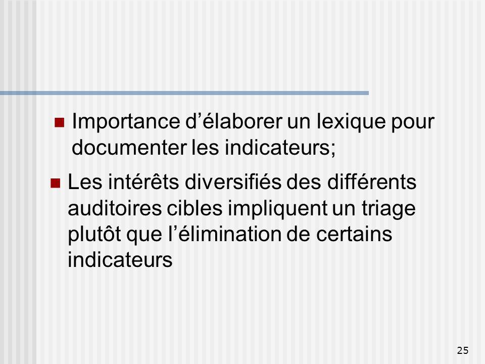 25 Les intérêts diversifiés des différents auditoires cibles impliquent un triage plutôt que lélimination de certains indicateurs Importance délaborer
