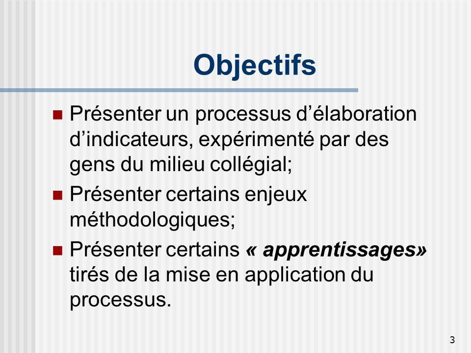 3 Objectifs Présenter un processus délaboration dindicateurs, expérimenté par des gens du milieu collégial; Présenter certains enjeux méthodologiques;