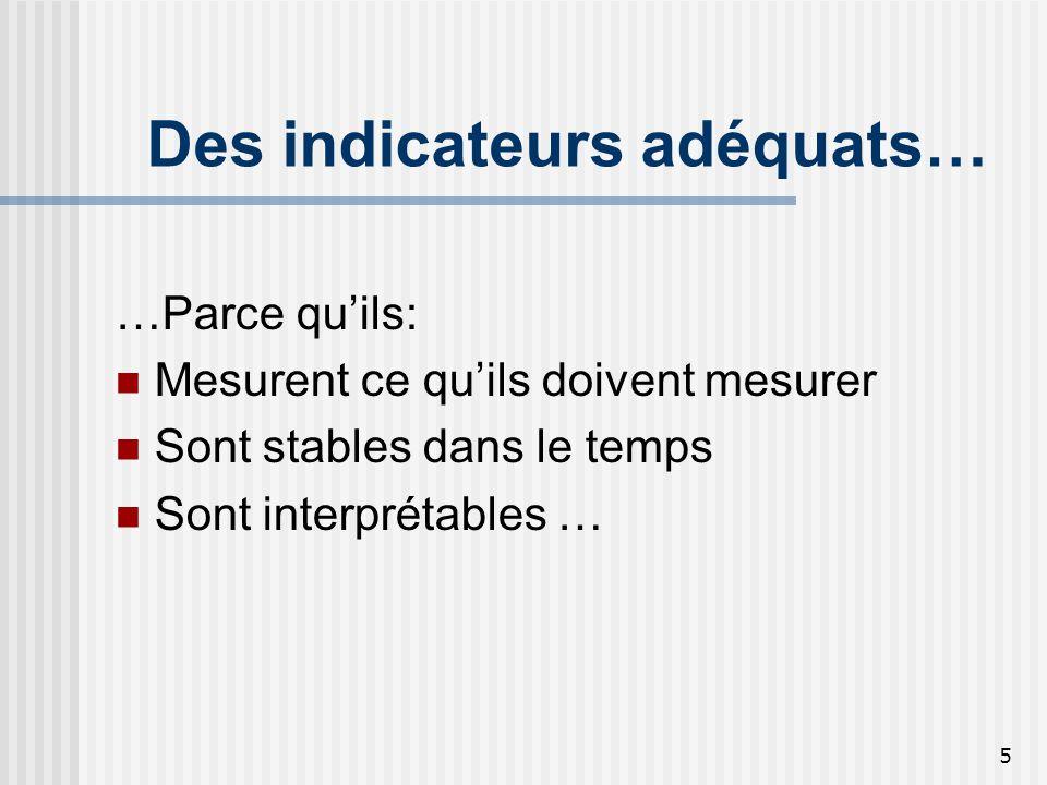 5 Des indicateurs adéquats… …Parce quils: Mesurent ce quils doivent mesurer Sont stables dans le temps Sont interprétables …
