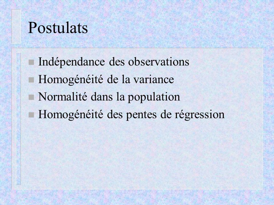 Postulats n Indépendance des observations n Homogénéité de la variance n Normalité dans la population n Homogénéité des pentes de régression