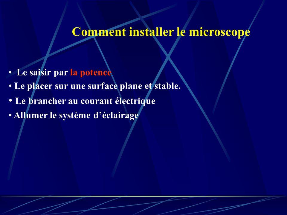Comment installer le microscope Le saisir par la potence Le brancher au courant électrique Allumer le système déclairage Le placer sur une surface plane et stable.